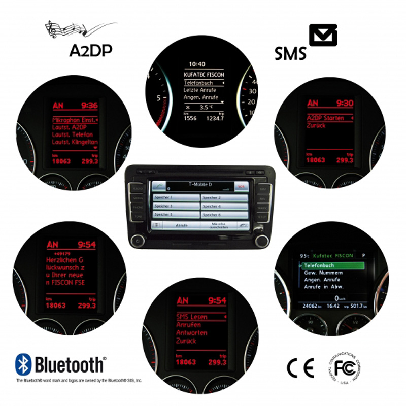 BLUETOOTH VW BASIC-PLUS KUFATEC FISCON for VW SKODA RNS510 (16:9 Touchscreen Navigation)