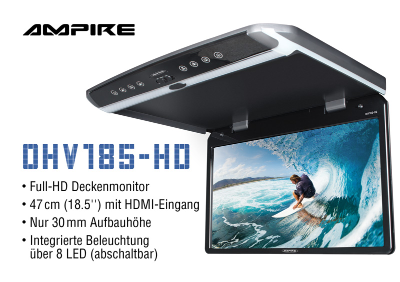 AMPIRE OHV185-HD ROOF MONITOR Таванен монитор  с USB  Full HD  47cm (18,5